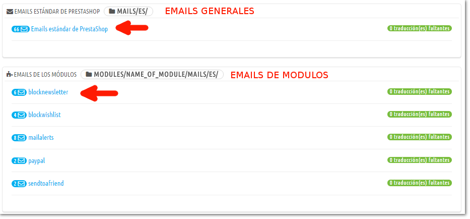 seleccion de emails en prestashop a modificar