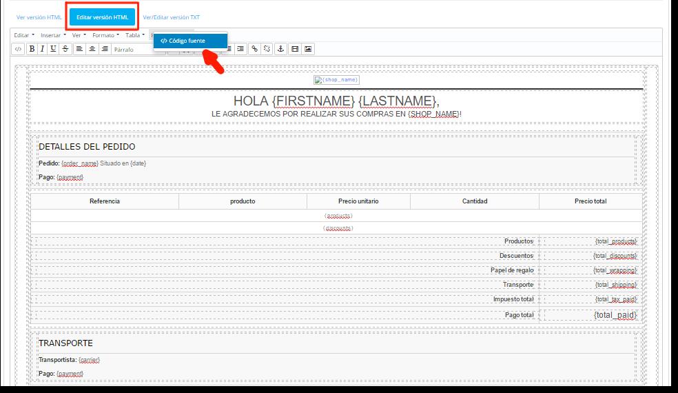 editar plantilla de emails en Prestashop